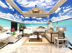 3D Beach Ocean Seagull Clouds Sky Ceiling Entire Living Room Wall Mural Art Decor IDCQW-000236