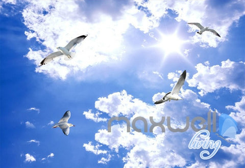 Image of 3D Beach Ocean Seagull Clouds Sky Ceiling Entire Living Room Wall Mural Art Decor IDCQW-000236