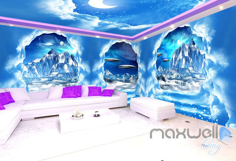 Image of 3D Clouds Stairs Spacecraft Astronauts Entire Living Room Wallpaper Wall Mural Art IDCQW-000238