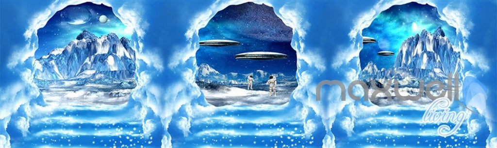 3D Clouds Stairs Spacecraft Astronauts Entire Living Room Wallpaper Wall Mural Art IDCQW-000238