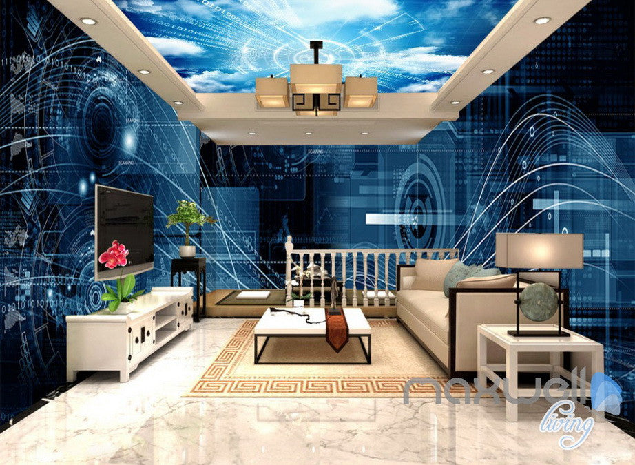 3D Digital Cyber Data Math Science Entire Office Room Wallpaper Wall