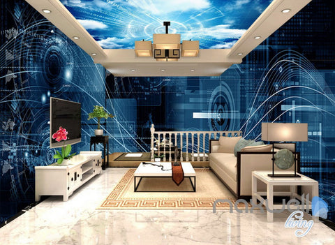 3D Digital Cyber Data Math Science Entire Office Room Wallpaper Wall Mural Art Decor IDCQW-000244