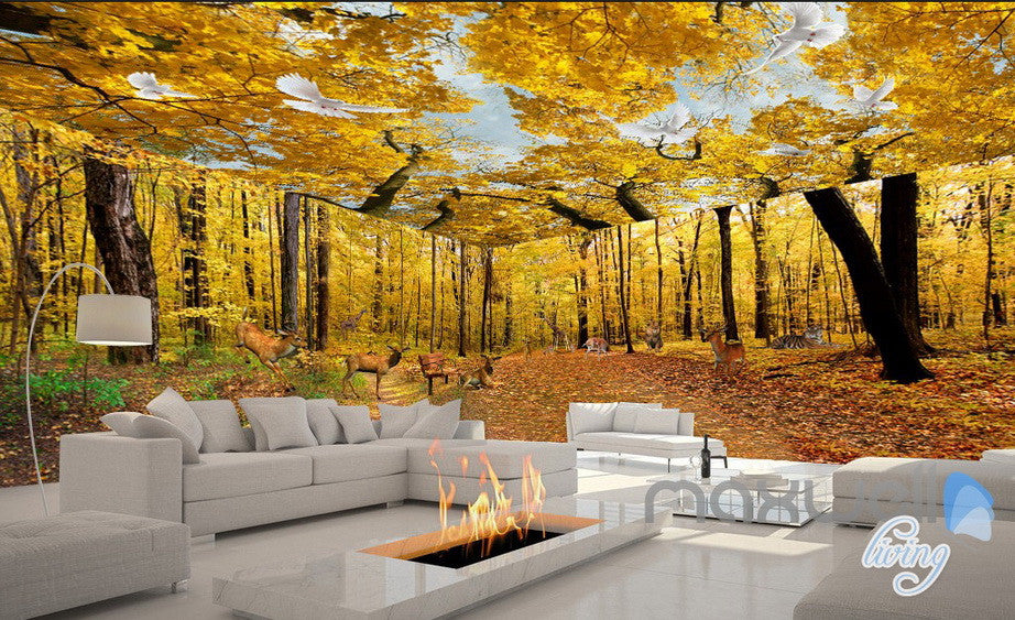 3D Yellow Tree Forest Top Ceiling Entrie Room Bedroom Wallpaper ...