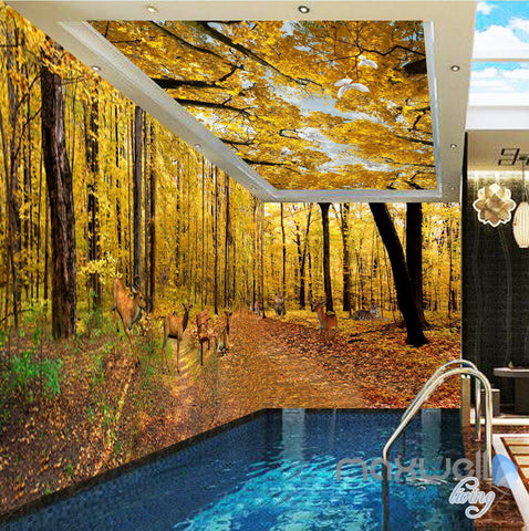 Image of 3D Yellow Tree Forest Top Ceiling Entrie Room Bedroom Wallpaper Wall Mural Art Decor IDCQW-000245