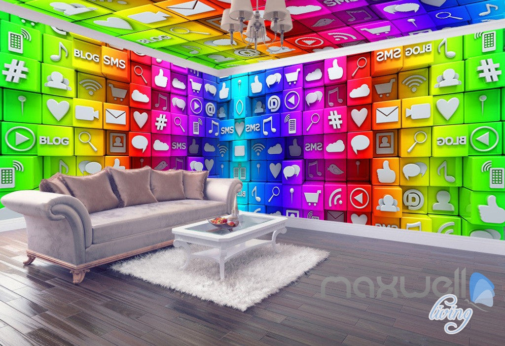3D Colorful Icons Digtal World Entire Room Office Business Wallpaper Wall Mural Decor IDCQW-000248