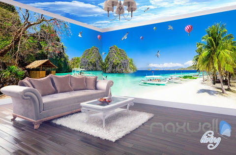 Image of 3D Beach Carbin Hot Airballoon Entire Living Room Wallpaper Wall Mural Decor IDCQW-000249