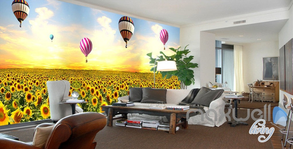 3D Hot Airballon Sunflower Field Entire Living Room Wallpaper Wall Mural Decor IDCQW-000250