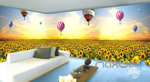 Image of 3D Hot Airballon Sunflower Field Entire Living Room Wallpaper Wall Mural Decor IDCQW-000250