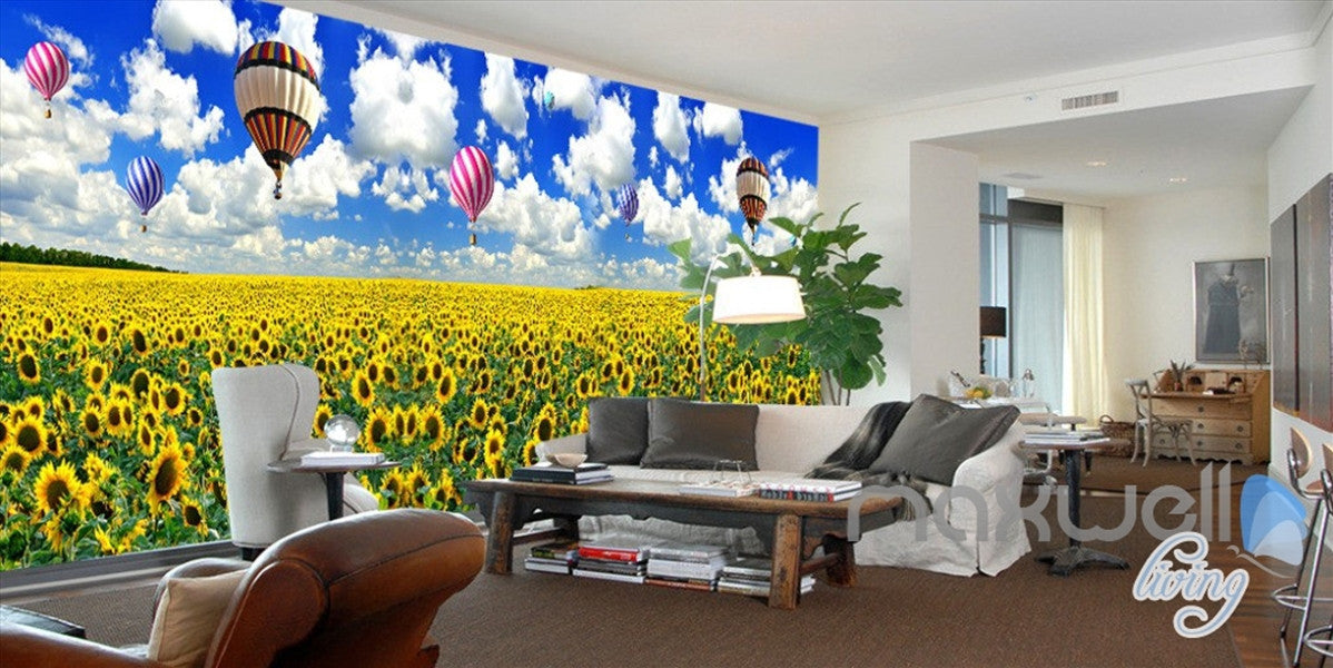 3D Airballon Flowers Entire Living Room Bedroom Wallpaper Wall Mural ...