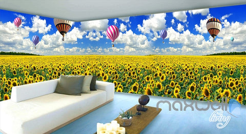 Image of 3D Airballon Flowers Entire Living Room Bedroom Wallpaper Wall Mural Art Decor IDCQW-000251