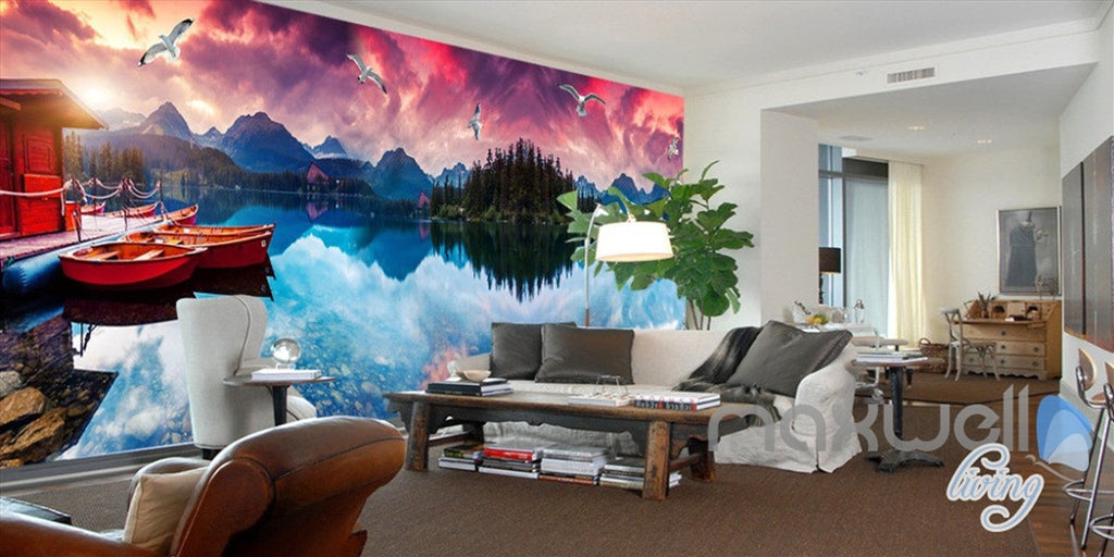 3D Moutains Reflection in Water Sunset Glow Entire Living Room Wallpaper Wall Mural IDCQW-000252