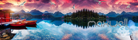 Image of 3D Moutains Reflection in Water Sunset Glow Entire Living Room Wallpaper Wall Mural IDCQW-000252