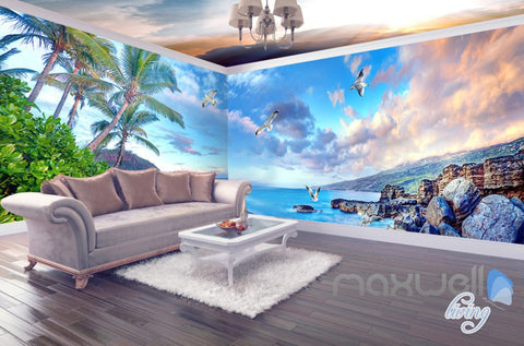 3D Beach Rocks Seagull Clouds Entire Living Room Business Wallpaper Wall Mural Art  IDCQW-000254