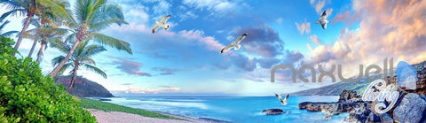 Image of 3D Beach Rocks Seagull Clouds Entire Living Room Business Wallpaper Wall Mural Art  IDCQW-000254