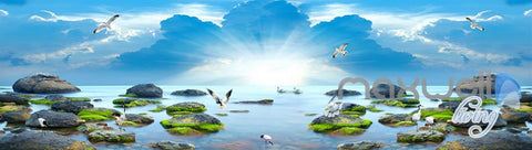 Image of 3D Sunrise Lakes Birds Clouds Sky Entire Living Room Wallpaper Wall Mural Art IDCQW-000255