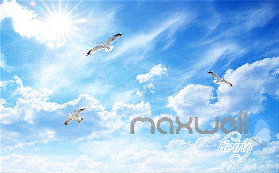 3D Sunrise Lakes Birds Clouds Sky Entire Living Room Wallpaper Wall Mural Art IDCQW-000255