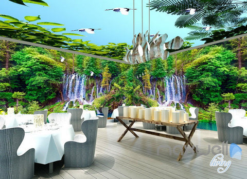 Image of 3D Waterfall Green Forest Entire Living Room Business Wallpaper Wall Mural Art IDCQW-000256