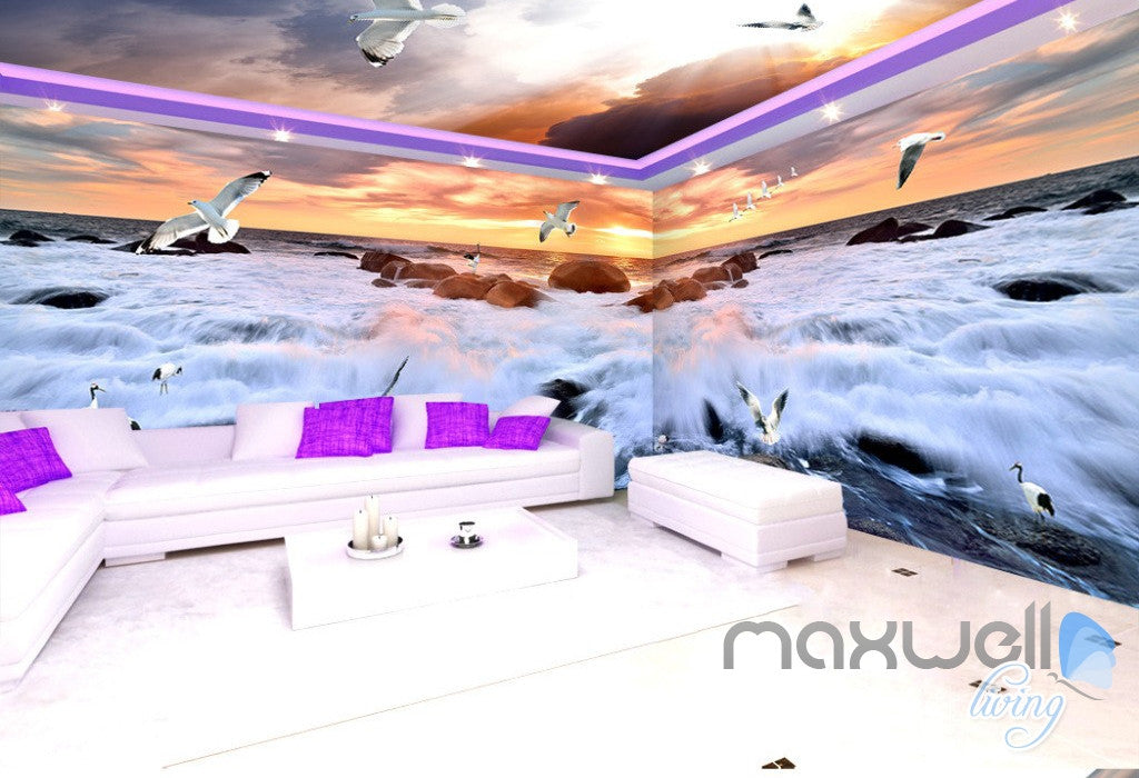 3D Rising Tide Sunset Seagull Entire Living Room Business Wallpaper Wall Mural Art IDCQW-000257