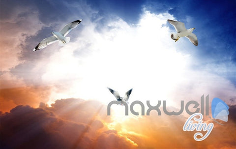 Image of 3D Rising Tide Sunset Seagull Entire Living Room Business Wallpaper Wall Mural Art IDCQW-000257