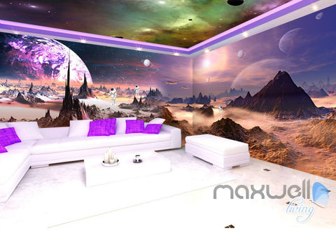 Image of 3D Outerspace Universe Galaxy Entire Living Room Office Wallpaper Wall Mural Art IDCQW-000258