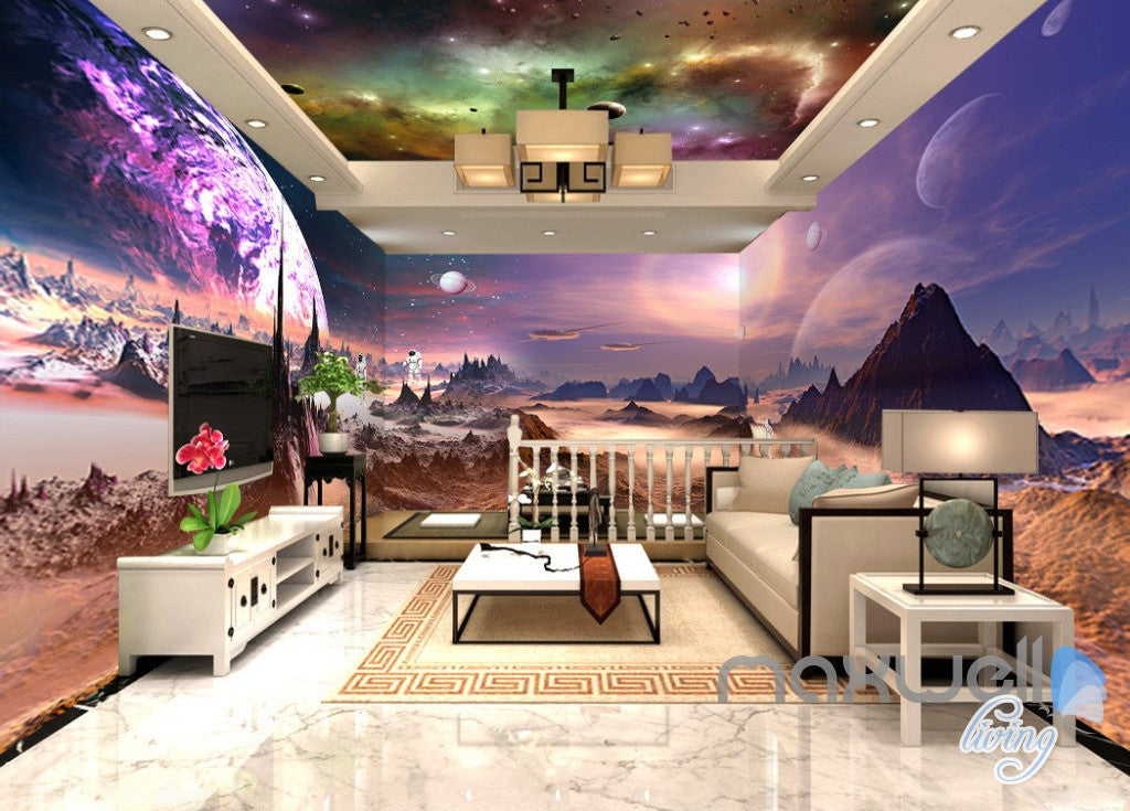 3d outerspace universe galaxy entire living room office - Space wallpaper room ...