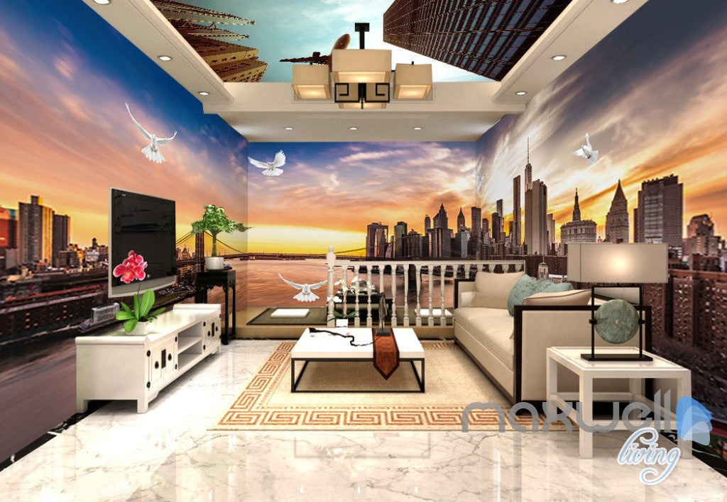 3D Modern Bridge City Entire Living Room Office Wallpaper Wall Mural Art IDCQW-000259