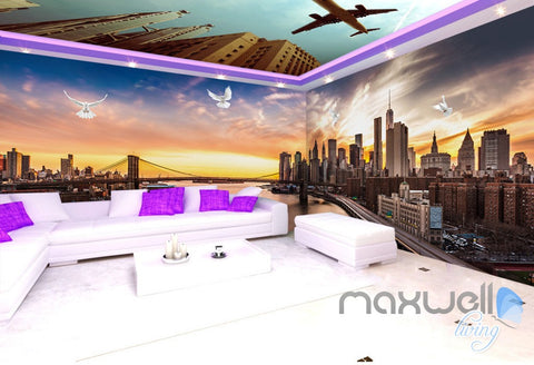 Image of 3D Modern Bridge City Entire Living Room Office Wallpaper Wall Mural Art IDCQW-000259