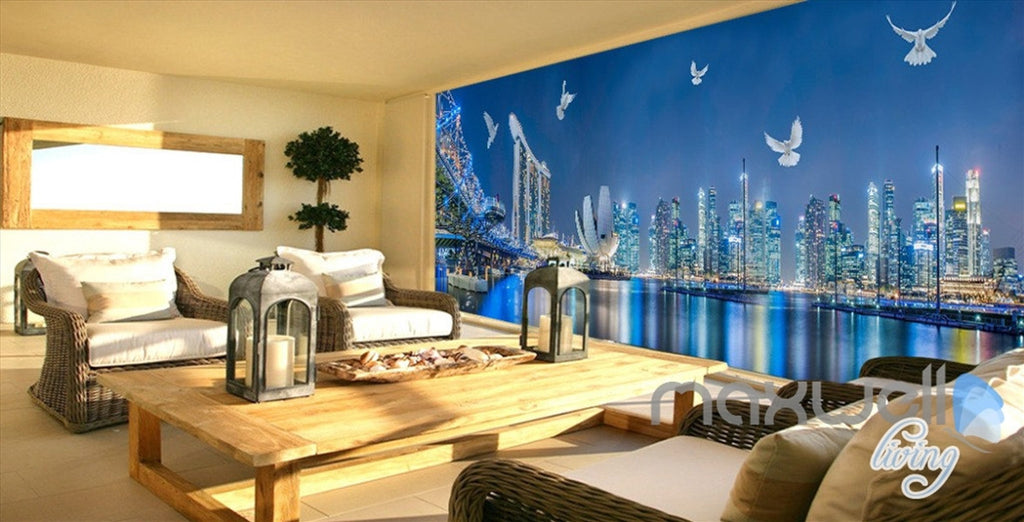 3D City Night Light Show Entire Living Room Office Wallpaper Wall Mural Art IDCQW-000260