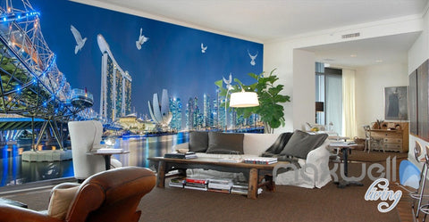 ... Image Of 3D City Night Light Show Entire Living Room Office Wallpaper  Wall Mural Art IDCQW ...