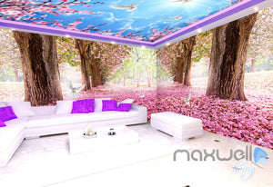 3D Cherry Blossom Tree Entire Living Room Office Wallpaper Wall Mural Art IDCQW-000261