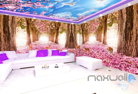 Image of 3D Flower Blossom Forest Entire Living Room Office Wallpaper Wall Mural Art IDCQW-000262