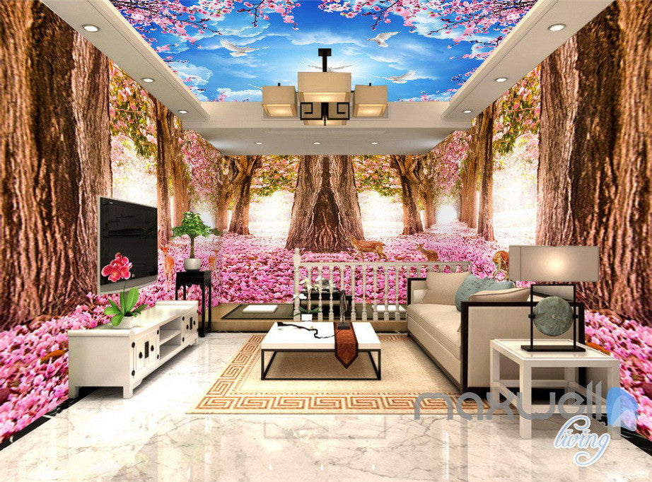 3D Flower Blossom Forest Entire Living Room Office Wallpaper Wall Mural Art IDCQW-000262