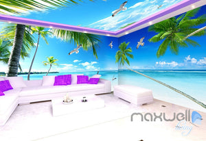 3D Palm Tree Beach Ocean Theme Entire Living Room Office Wallpaper Wall Mural IDCQW-000264