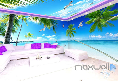 Image of 3D Palm Tree Beach Ocean Theme Entire Living Room Office Wallpaper Wall Mural IDCQW-000264