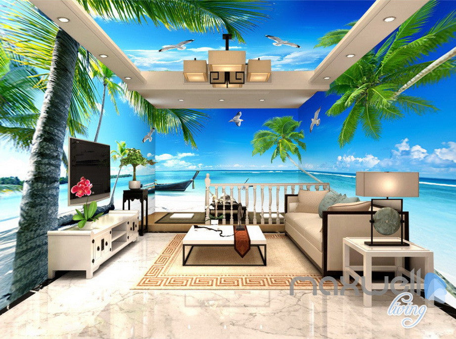 3d palm tree beach ocean theme entire living room office wallpaper wal idecoroom. Black Bedroom Furniture Sets. Home Design Ideas