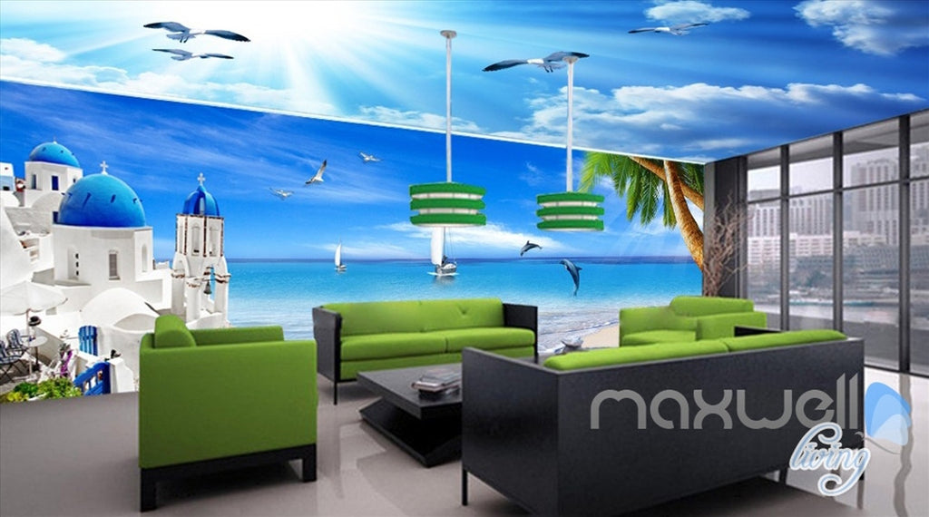 3D Mediterranean Palm Tree Ocean Entire Living Room Office Wallpaper Wall Mural IDCQW-000265