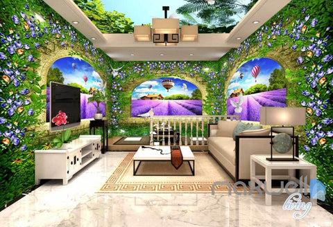 Image of 3D Lavender Farm Arches Vine Entire Living Room Bedroom Wallpaper Wall Mural Art IDCQW-000266