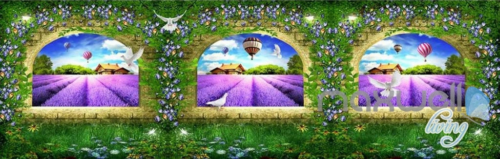3D Lavender Farm Arches Vine Entire Living Room Bedroom Wallpaper Wall Mural Art IDCQW-000266