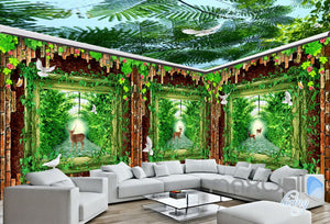 3D Wood Windows Forest Deer Entire Living Room Bedroom Wallpaper Wall Mural Art IDCQW-000267