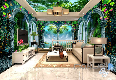 Image of 3D Arch Waterfalls Vine Entire Living Room Bedroom Wallpaper Wall Mural Art  IDCQW-000268