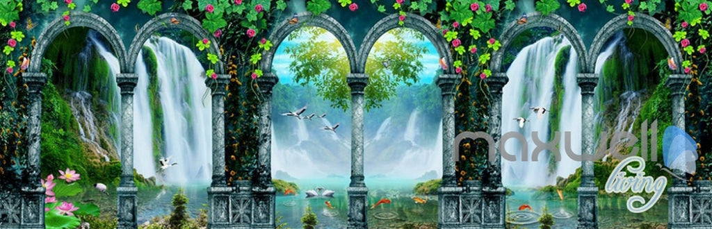 3D Arch Waterfalls Vine Entire Living Room Bedroom Wallpaper Wall Mural Art  IDCQW-000268