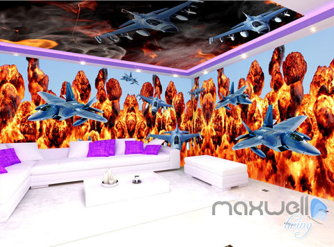 Image of 3D Planes Fire Entire Living Room Business Wallpaper Wall Mural Art Decor IDCQW-000269