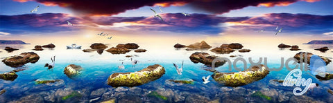 Image of 3D Clouds Lake Rocks Entire Living Room Business Wallpaper Wall Mural Art Decor IDCQW-000270
