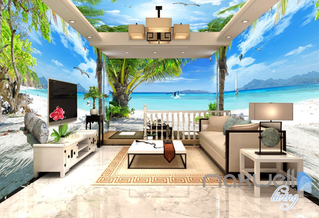 3D Fiji Tropical Island Entire Living Room Business Wallpaper Wall Mural Art IDCQW-000271