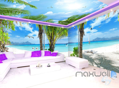 Image of 3D Fiji Tropical Island Entire Living Room Business Wallpaper Wall Mural Art IDCQW-000271