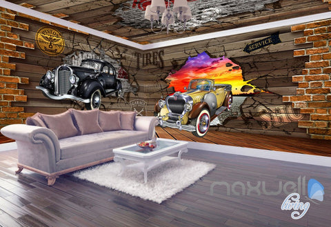 Image of 3D Cars Break Brick Wall Entire Living Room Business Wallpaper Mural Art Decor IDCQW-000272