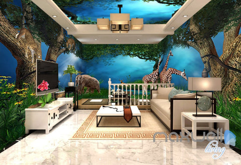 Image of 3D Jungle Animals Forest Elepant Entier Living Room Business Wallpaper Wall Mural IDCQW-000274
