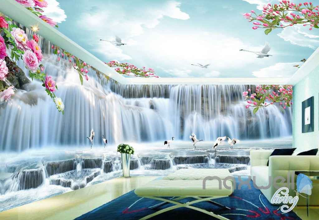 3D Peony Flower Large Waterfall Entire Living Room Bedroom