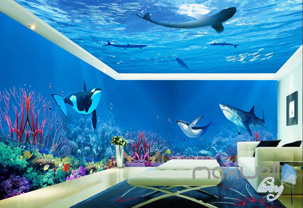 3d whale shark underwater ceiling entire living room for 3d wallpaper for bathroom