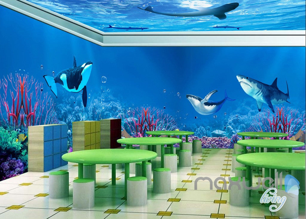3d Whale Shark Underwater Ceiling Entire Living Room
